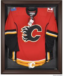 Calgary Flames Brown Framed Logo Jersey Display Case - Mounted Memories