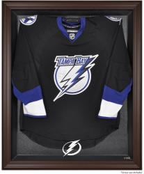 Tampa Bay Lightning Brown Framed Logo Jersey Display Case - Mounted Memories