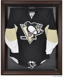 Pittsburgh Penguins Brown Framed Logo Jersey Display Case - Mounted Memories