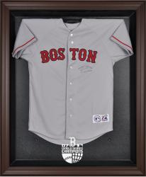 Boston Red Sox 2007 World Series Champions Brown Framed Logo Jersey Display Case