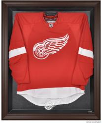 Detroit Red Wings Brown Framed Logo Jersey Display Case - Mounted Memories