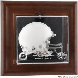 2009 BCS Champion Alabama Crimson Tide Brown Framed Wall-Mountable Mini Helmet Display Case