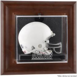 Illinois Fighting Illini Brown Framed Wall-Mountable Mini Helmet Display Case