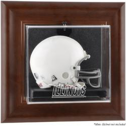 Illinois Fighting Illini Brown Framed Wall-Mountable Mini Helmet Display Case