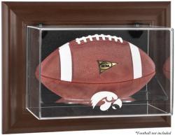 Iowa Hawkeyes Brown Framed Wall-Mountable Football Display Case