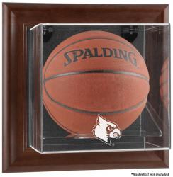 Louisville Cardinals Brown Framed Logo Wall-Mountable Basketball Display Case - Mounted Memories