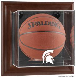 Michigan State Spartans Brown Framed Wall-Mountable Basketball Display Case - Mounted Memories