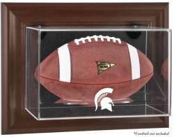 Michigan State Spartans Brown Framed Wall-Mountable Football Display Case - Mounted Memories