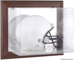 North Carolina State Wolfpack Brown Framed Wall-Mountable Helmet Display Case