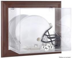 Oklahoma State Cowboys Brown Framed Wall-Mountable Helmet Display Case