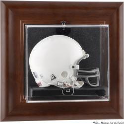 Syracuse Orange Brown Framed Wall-Mountable Mini Helmet Display Case