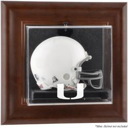 Miami Hurricanes Brown Framed Wall-Mountable Mini Helmet Display Case