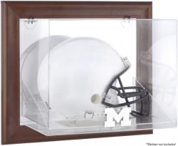 Michigan Wolverines Brown Framed Wall-Mountable Helmet Display Case