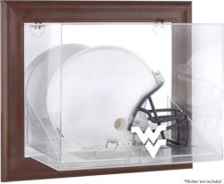West Virginia Mountaineers Brown Framed Wall-Mountable Helmet Display Case