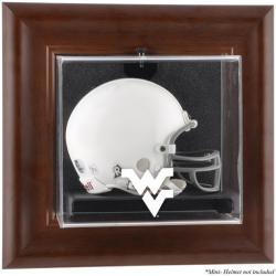 West Virginia Mountaineers Brown Framed Wall-Mountable Mini Helmet Display Case