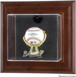 Atlanta Braves Brown Framed Wall-Mounted Logo Baseball Display Case - Mounted Memories