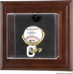 Cleveland Indians Brown Framed Wall-Mounted Logo Baseball Display Case - Mounted Memories