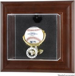 Texas Rangers Brown Framed Wall-Mounted Logo Baseball Display Case - Mounted Memories