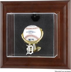 Detroit Tigers Brown Framed Wall-Mounted Logo Baseball Display Case - Mounted Memories