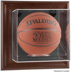 Brown Framed Wall Mounted Basketball Display Case - Mounted Memories  - Mounted Memories