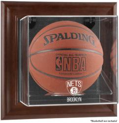 NBA Brooklyn Nets Brown Framed Wall-Mounted Basketball Display Case - Mounted Memories