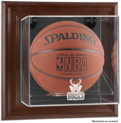 Milwaukee Bucks Brown Framed Wall-Mounted Team Logo Basketball Display Case - Mounted Memories