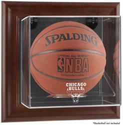 Chicago Bulls Brown Framed Wall-Mounted Team Logo Basketball Display Case