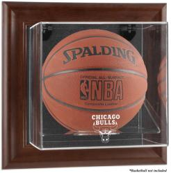Chicago Bulls Brown Framed Wall-Mounted Team Logo Basketball Display Case