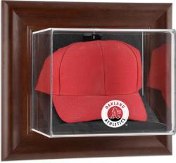 Oakland Athletics Brown Framed Wall-Mounted Logo Cap Case