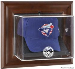 Toronto Blue Jays Brown Framed Wall-Mounted Logo Cap Case - Mounted Memories