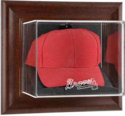 Atlanta Braves Brown Framed Wall-Mounted Logo Cap Case - Mounted Memories
