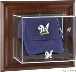 Milwaukee Brewers Brown Framed Wall-Mounted Logo Cap Case