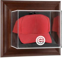 Chicago Cubs Brown Framed Wall-Mounted Logo Cap Case - Mounted Memories