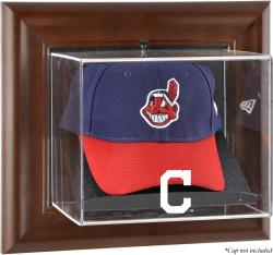 Cleveland Indians Brown Framed Wall-Mounted Logo Cap Case - Mounted Memories