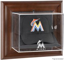 Miami Marlins Brown Framed Wall-Mounted Logo Cap Case - Mounted Memories