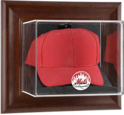 New York Mets Brown Framed Wall-Mounted Logo Cap Case - Mounted Memories