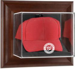 Washington Nationals Brown Framed Wall-Mounted Logo Cap Case - Mounted Memories
