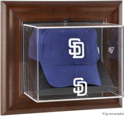 San Diego Padres Brown Framed Wall-Mounted Logo Cap Case