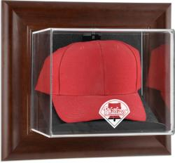 Philadelphia Phillies Brown Framed Wall-Mounted Logo Cap Case - Mounted Memories