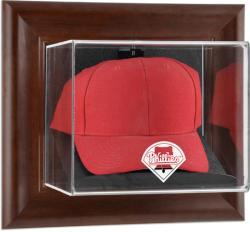 Philadelphia Phillies Brown Framed Wall-Mounted Logo Cap Case