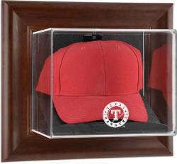 Texas Rangers Brown Framed Wall-Mounted Logo Cap Case - Mounted Memories