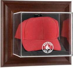 Boston Red Sox Brown Framed Wall-Mounted Logo Cap Case - Mounted Memories