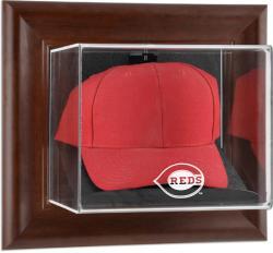 Cincinnati Reds Brown Framed Wall-Mounted Logo Cap Case