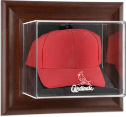 St. Louis Cardinals Brown Framed Wall-Mounted Logo Cap Case - Mounted Memories