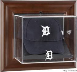 Detroit Tigers Brown Framed Wall-Mounted Logo Cap Case - Mounted Memories