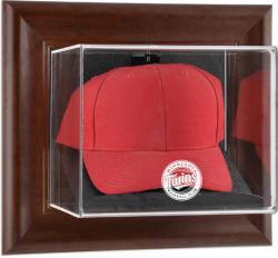Minnesota Twins Brown Framed Wall-Mounted Logo Cap Case
