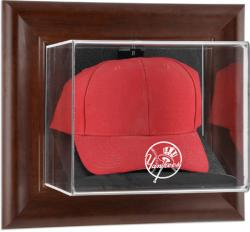 New York Yankees Brown Framed Wall-Mounted Logo Cap Case - Mounted Memories