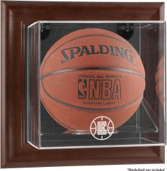 Los Angeles Clippers Brown Framed Wall-Mounted Team Logo Basketball Display Case