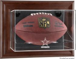 Dallas Cowboys Brown Framed Wall Mounted Logo Football Case - Mounted Memories