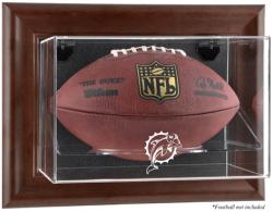 Miami Dolphins Brown Football Display Case - Mounted Memories